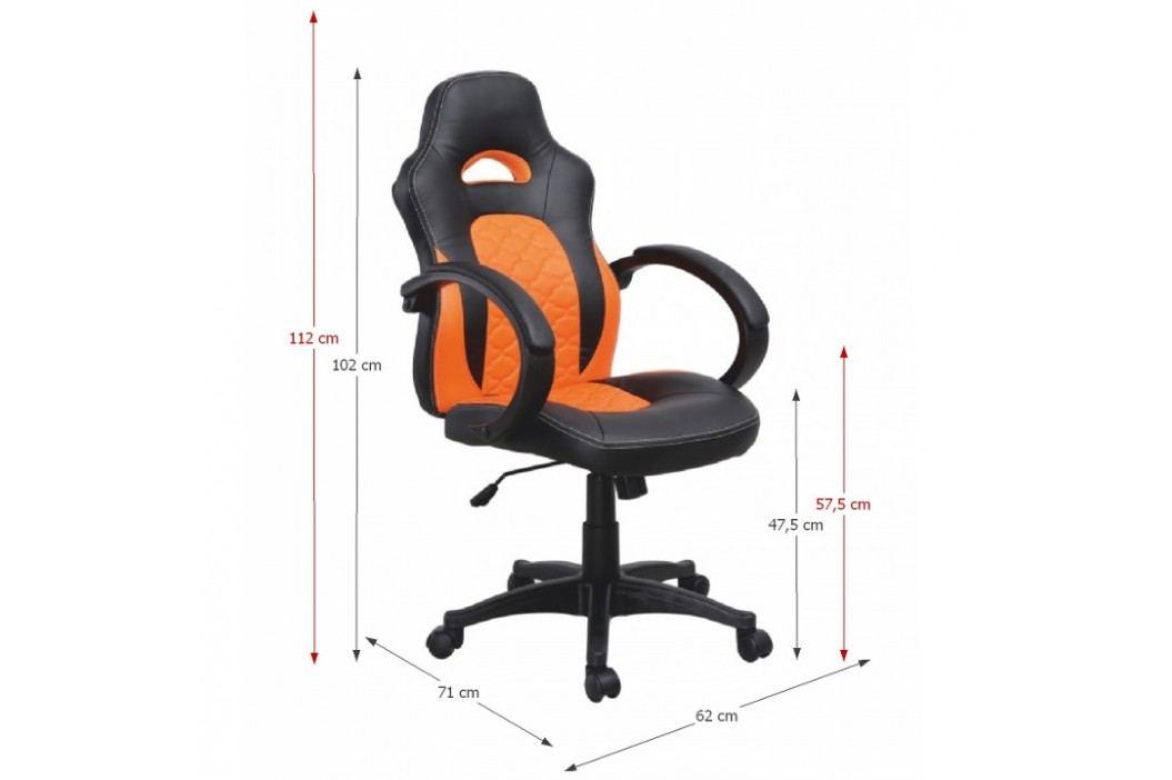 Kancelářské křeslo v provedení černé a oranžové ekokůže TK101