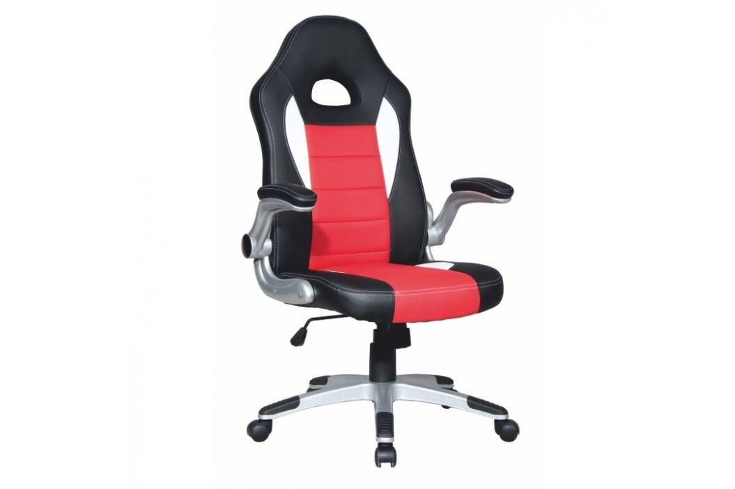 Kancelářské křeslo v provedení černé a červené ekokůže TK100