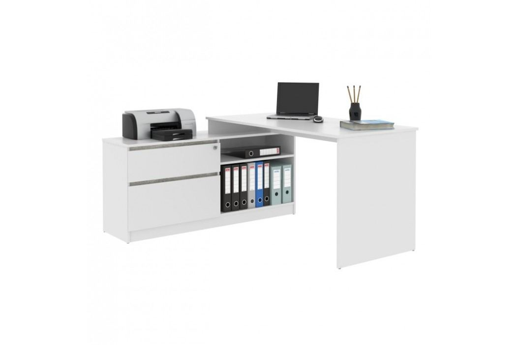 PC stůl rohový s policí v moderní provedení bílá TK007