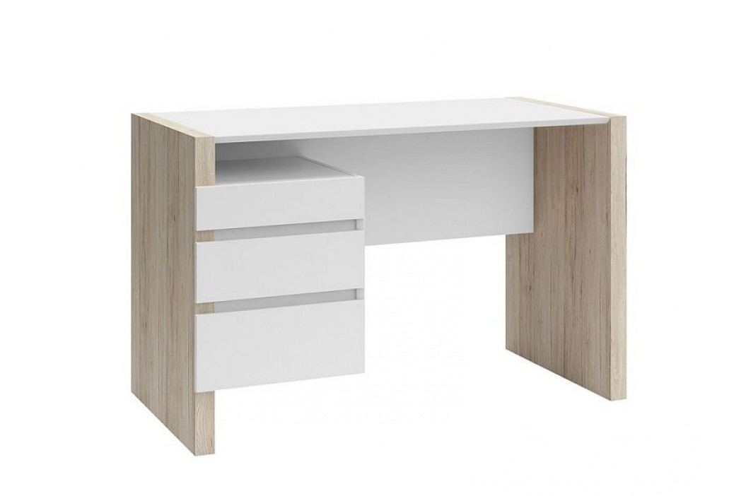 Psací stůl B05 BIU3S/120 dub san remo světlý/bílá