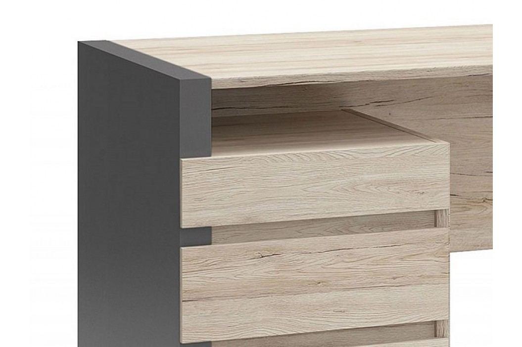 Psací stůl B05 BIU3S/120 šedý wolfram/dub san remo světlý