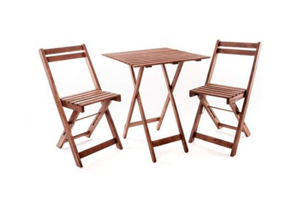 HAPPY GREEN Balkonový dřevěný set ACACIA, 3 ks, čtvercový stůl