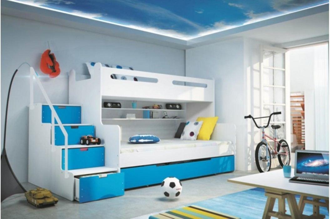 Dětská patrová postel modré barvy F1022