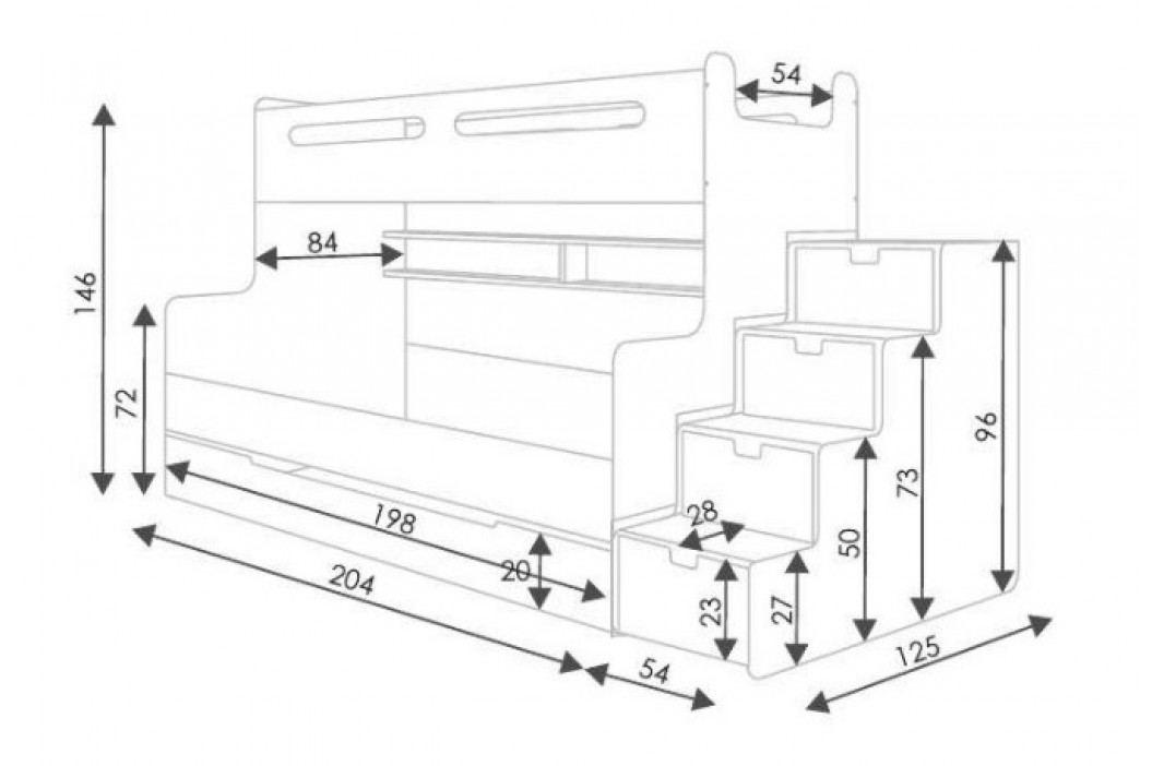 Dětská patrová postel se schody šedé barvy F1022