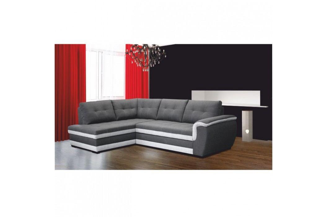Lenoška v levém provedení s úložným prostorem a záhlavkem v jednoduché moderní šedé a krémové TK083