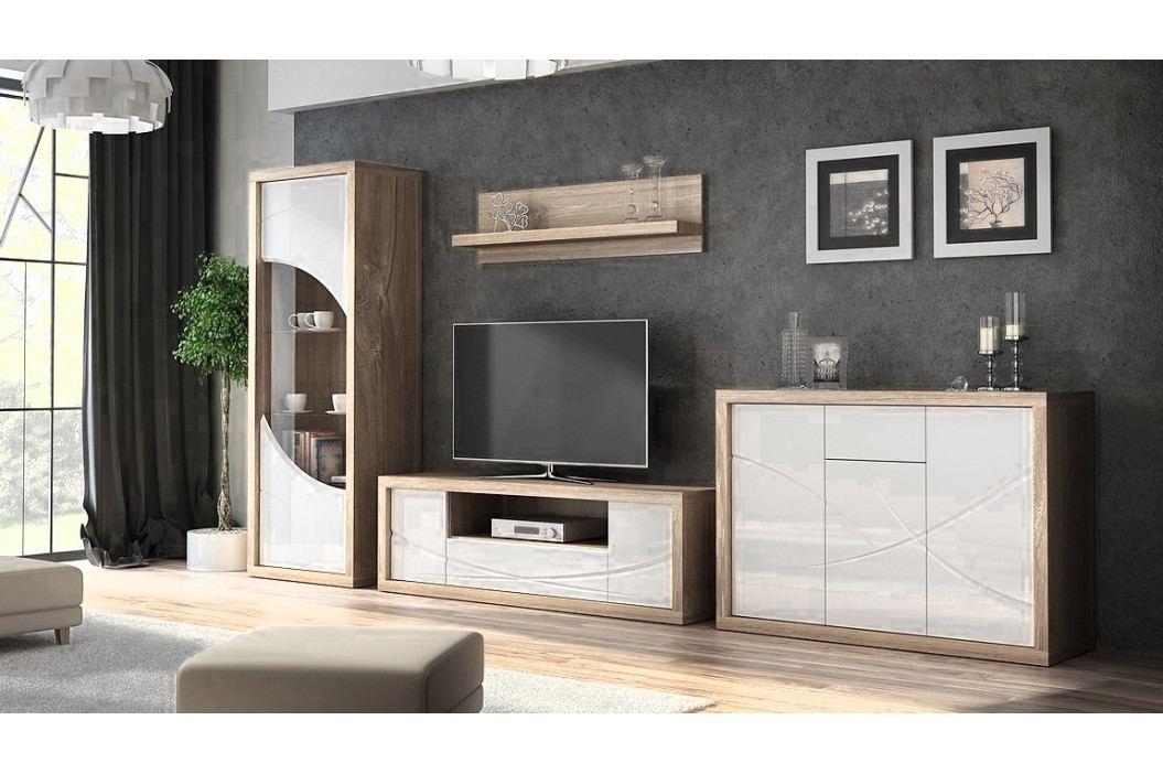 Obývací sestava v barevném provedení bílý lesk a dub Sanremo KN074