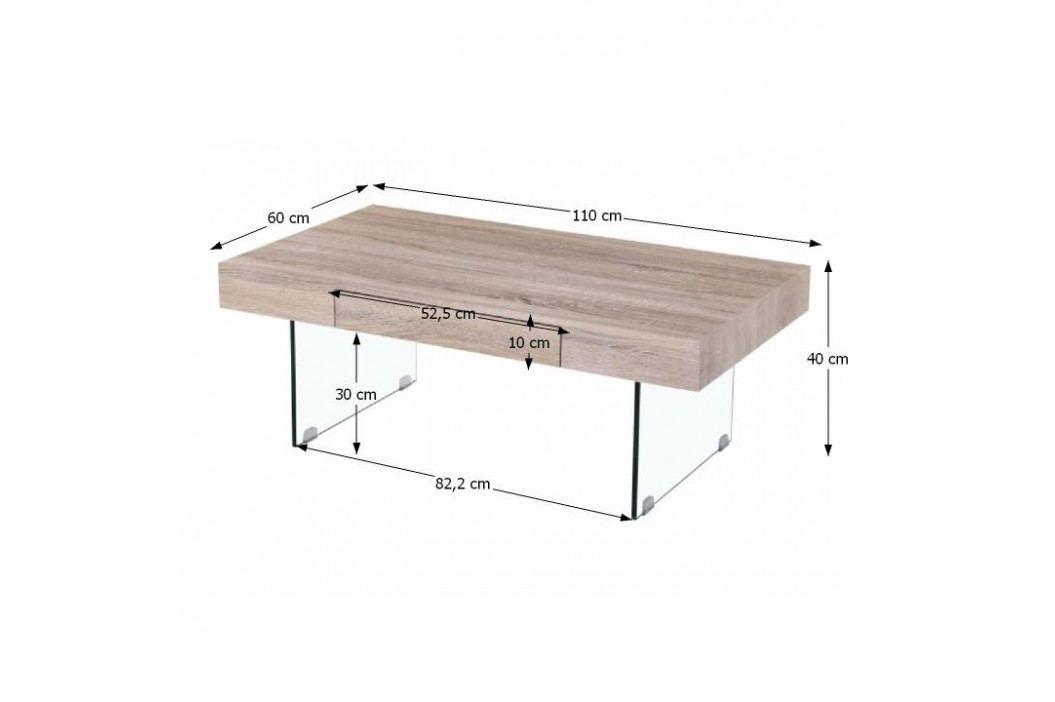 Konferenční stolek v dekoru dub sonoma se šuplíkem v desce a skleněnýma nohama TK207