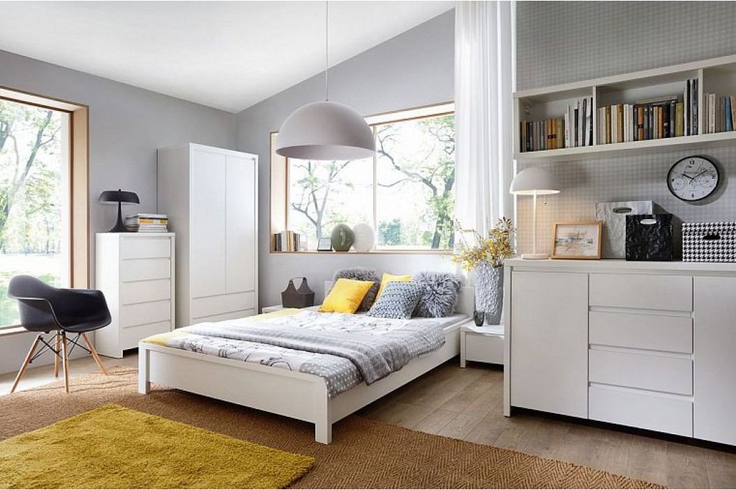 Manželská postel KASPIAN LOZ/160 bílá 160x200 cm