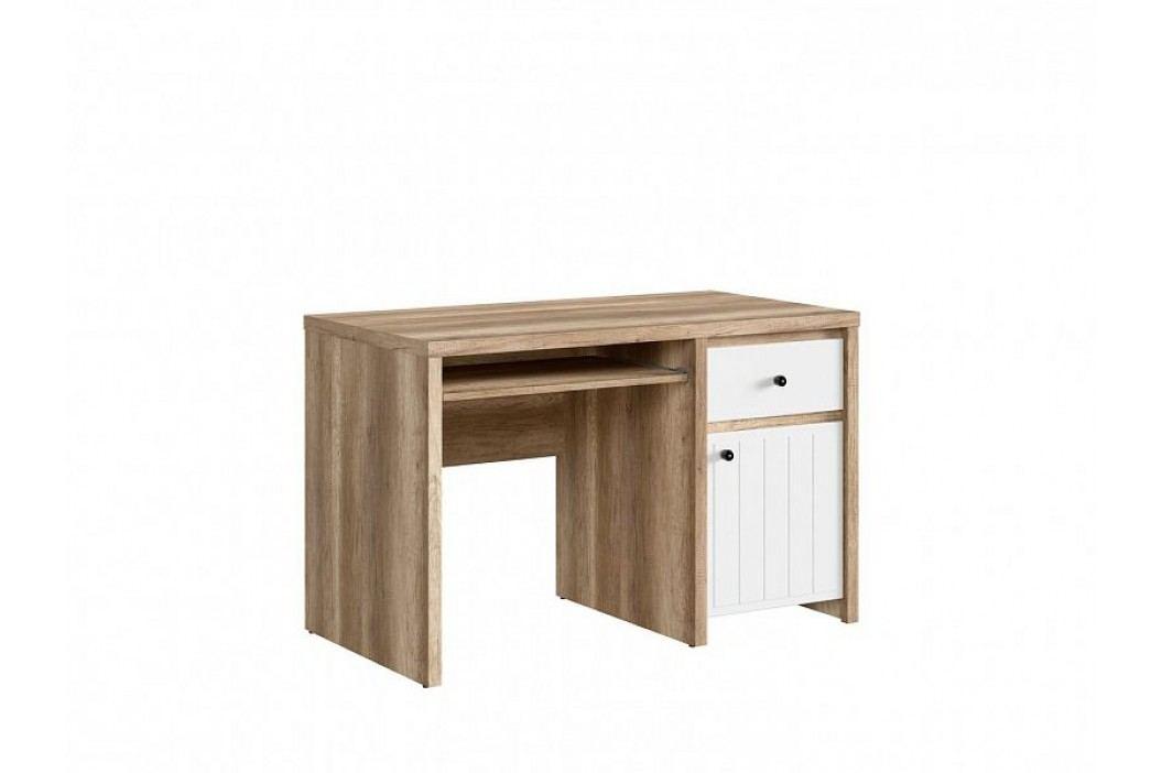 Psací stůl KASPIAN III BIU1D1S/120 v kombinaci dub monument a bílá s frézováním