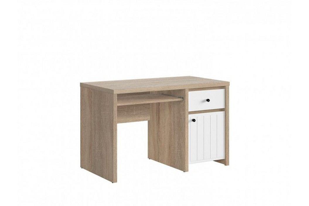 Psací stůl KASPIAN III BIU1D1S/120 v kombinaci dub sonoma a bílá s frézováním