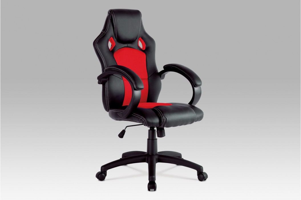 Kancelářské křeslo v kombinaci černá ekokůže a červená látka MESH KA-F281 RED
