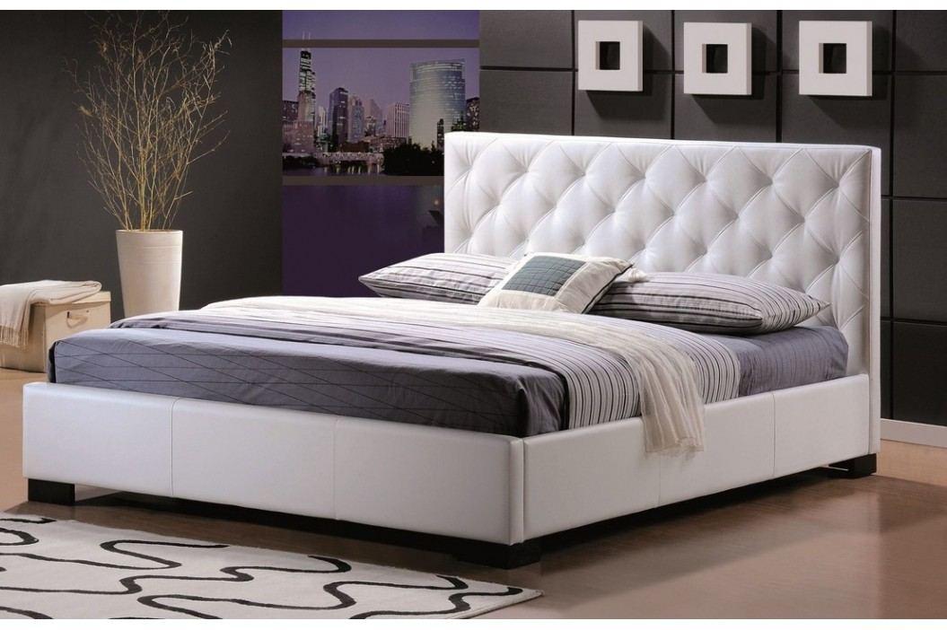Manželská postel o rozměrech 180 x 200 cm v bílé ekokůži KN260