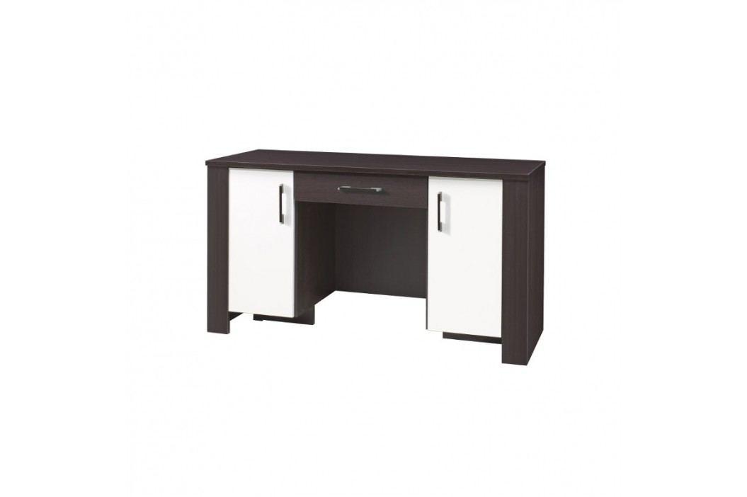 Laminovaný psací stůl v kombinaci tmavě hnědé a bílé barvy se zásuvkou F1048