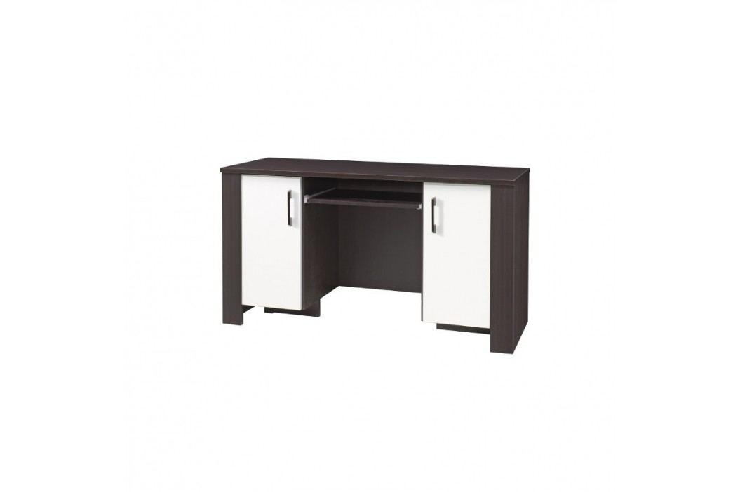 Laminovaný psací stůl v kombinaci tmavě hnědé a bílé barvy s výsuvnou policí F1048
