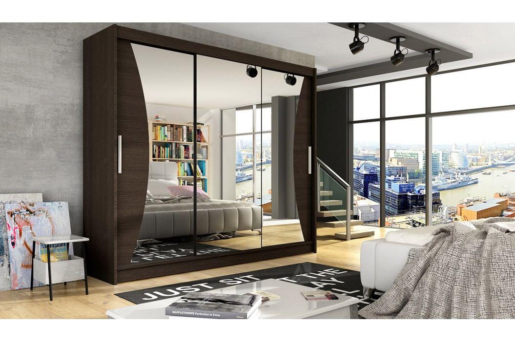 Šatní skříň v tmavě hnědé barvě se zrcadly do oblouku F1067