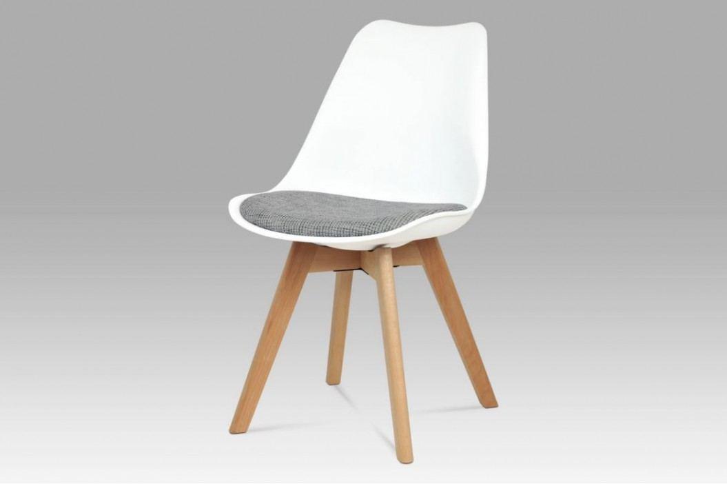 Jídelní židle bílý plast / šedá tkanina / natural CT-722 WT2 AKCE