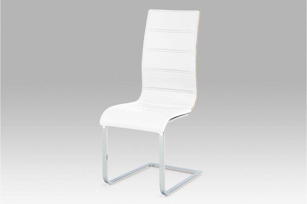 NEW Jídelní židle, koženka bílá / sonoma / chrom WE-5022 WT AKCE