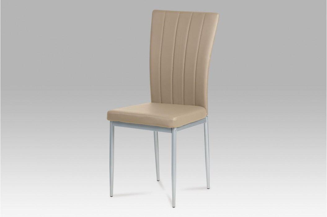 Jídelní židle koženka cappuccino / šedý lak AC-1287 CAP AKCE