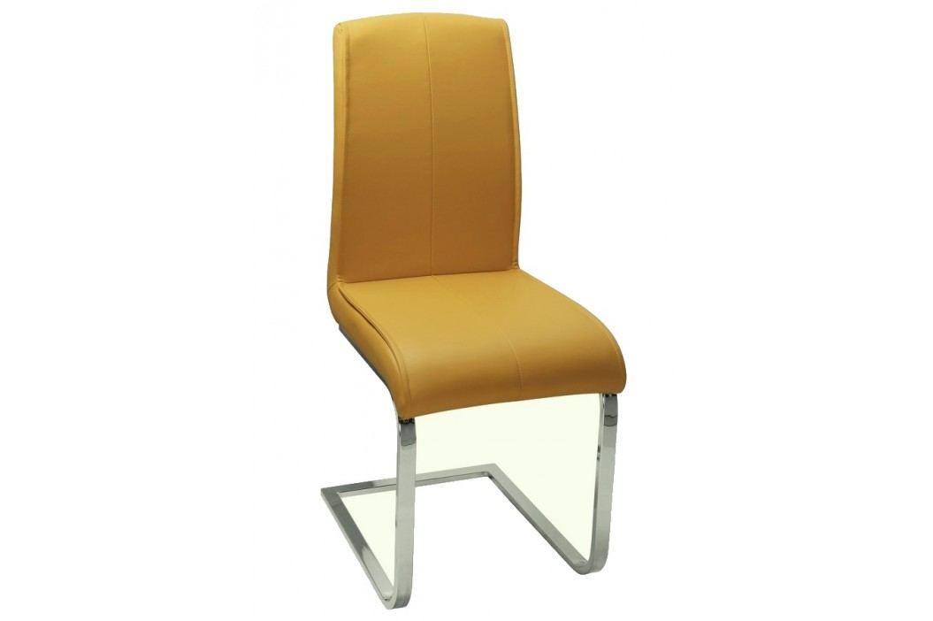 Jídelní čalouněná židle ve žluté barvě KN280