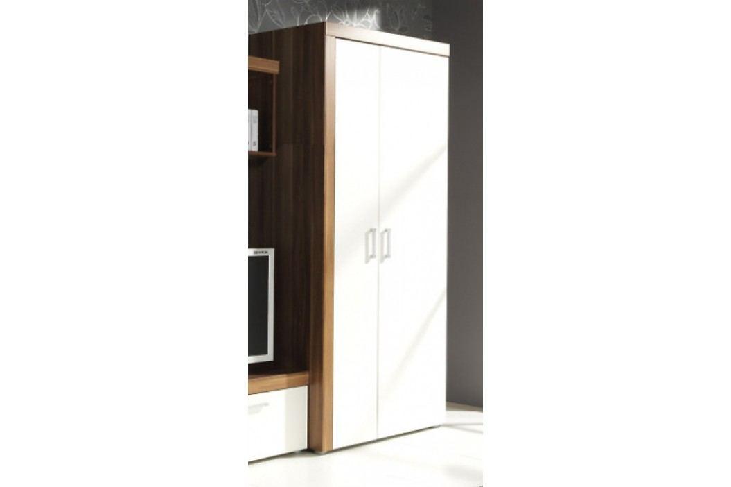 Šatní skříň v dekoru švestka v kombinaci s krémovu barvou F1050
