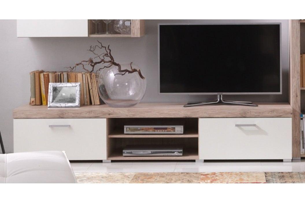 TV stolek v dekoru dub san remo v kombinaci s krémovou barvou F1050