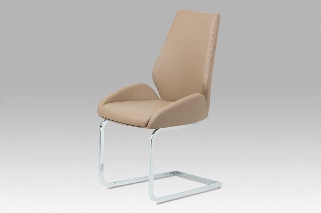 Jídelní židle chrom a ekokůže cappuccino HC-702 CAP