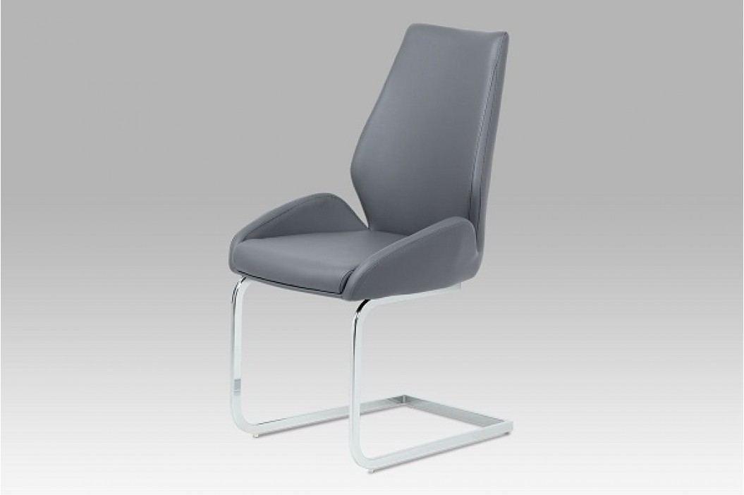 Jídelní židle chrom a šedá ekokůže HC-702 GREY