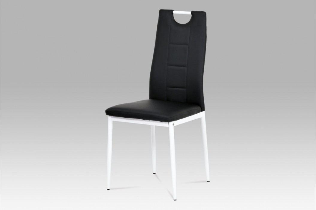 Jídelní židle bílý kov a černá ekokůže AC-1230 BK