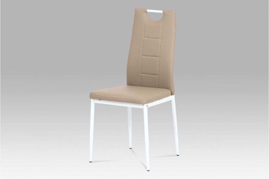 Jídelní židle bílý kov a ekokůže cappuccino AC-1230 CAP
