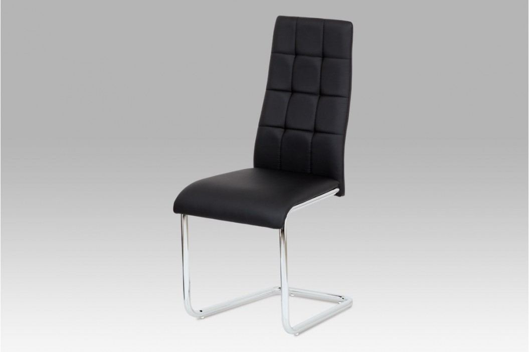 Jídelní židle chrom a černá ekokůže AC-1620 BK
