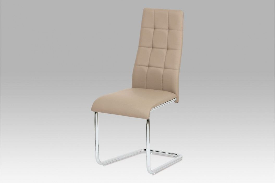 Jídelní židle chrom a ekokůže cappuccino AC-1620 CAP