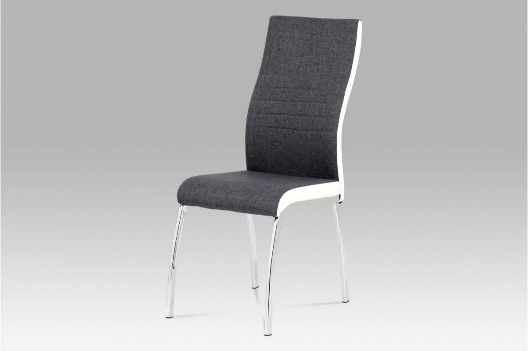 Jídelní židle chrom a šedá látka s bílou ekokůží DCL-433 GREY2