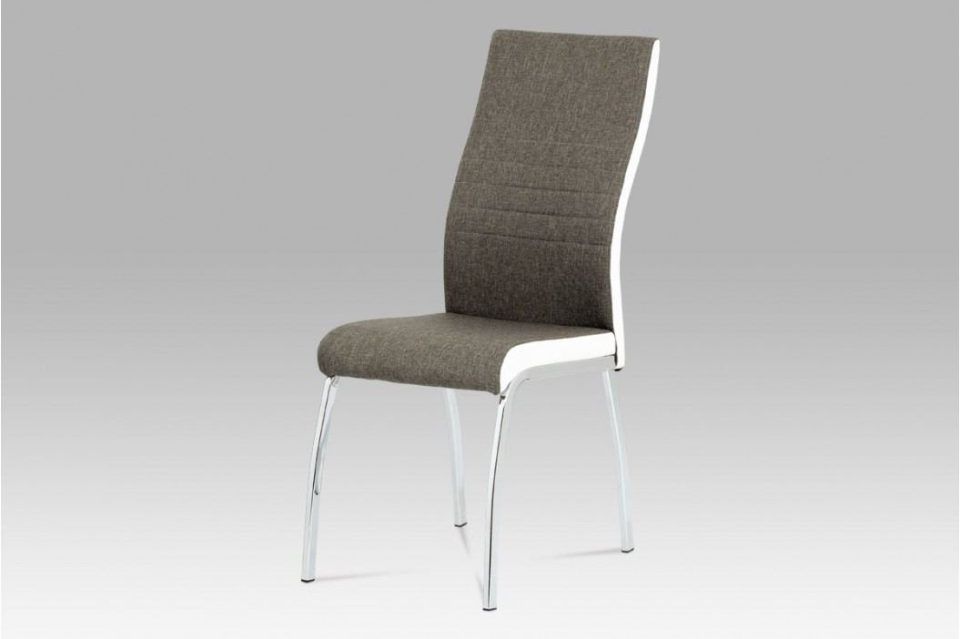 Jídelní židle chrom a lanýžová látka s bílou ekokůží DCL-433 LAN2