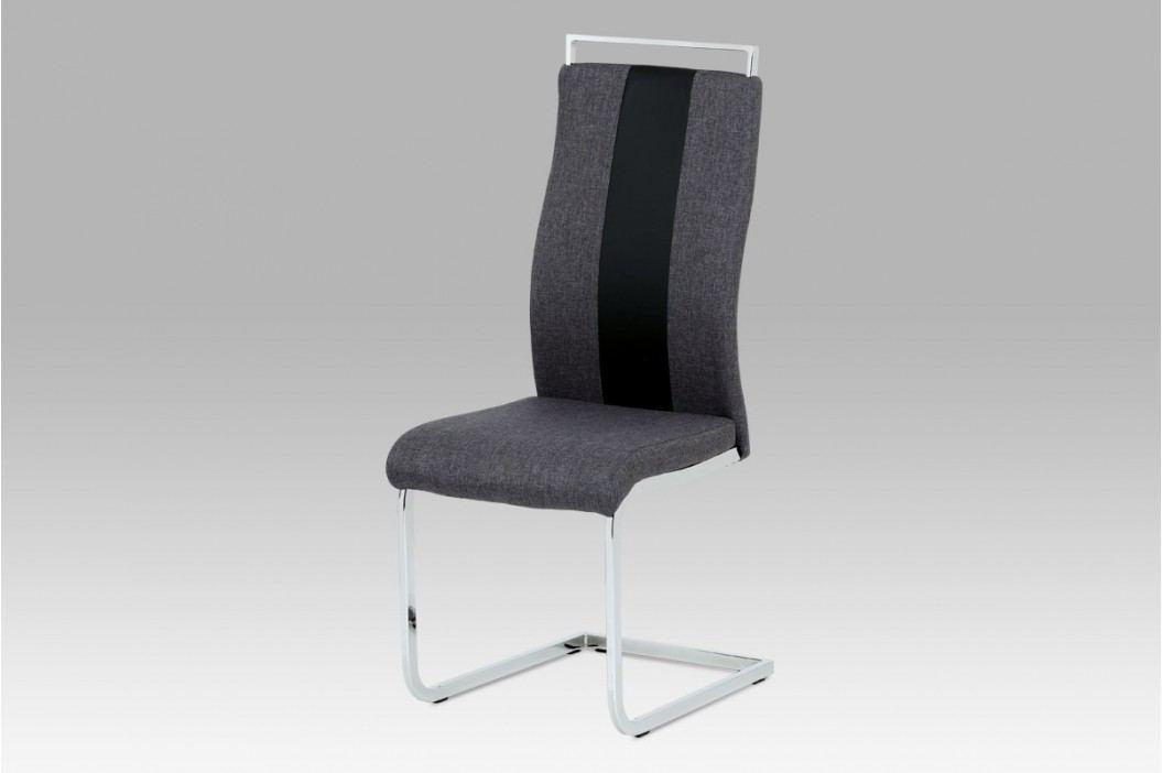 Jídelní židle chrom a šedá látka s ekokůží DCL-449 GREY2
