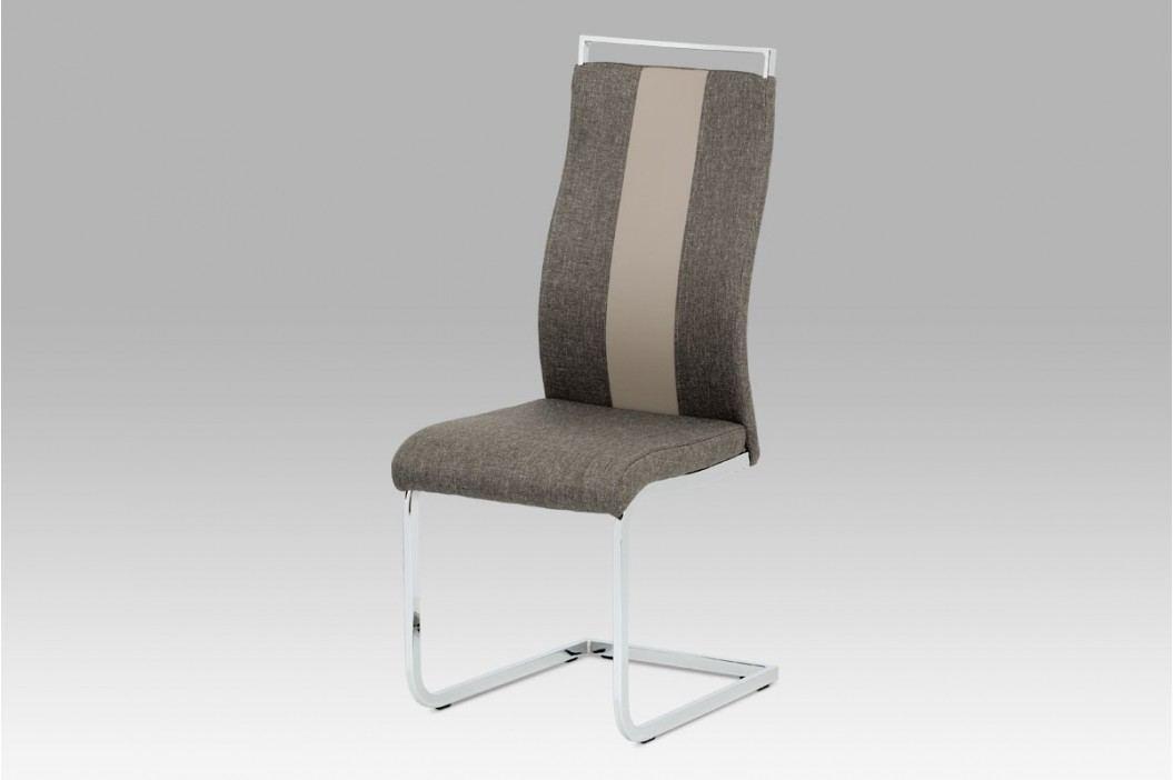 Jídelní židle chrom a lanýžová látka s ekokůží DCL-449 LAN2