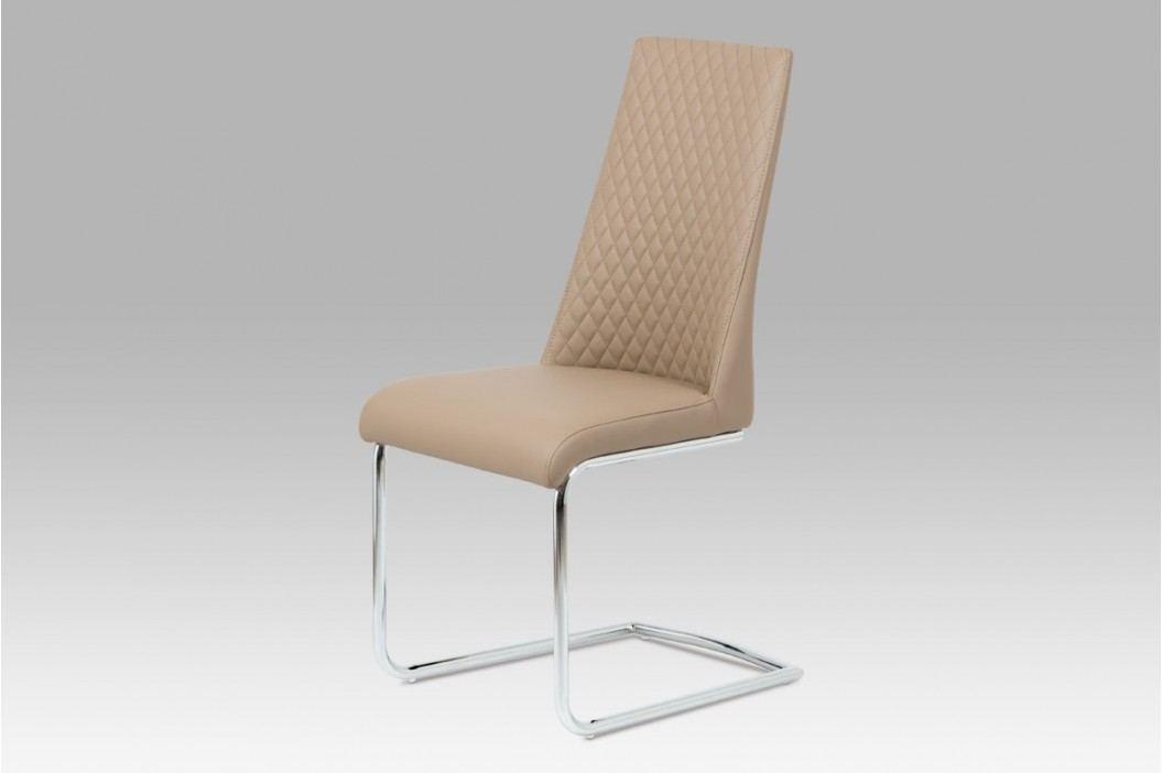 Jídelní židle chrom a ekokůže cappuccino HC-701 CAP