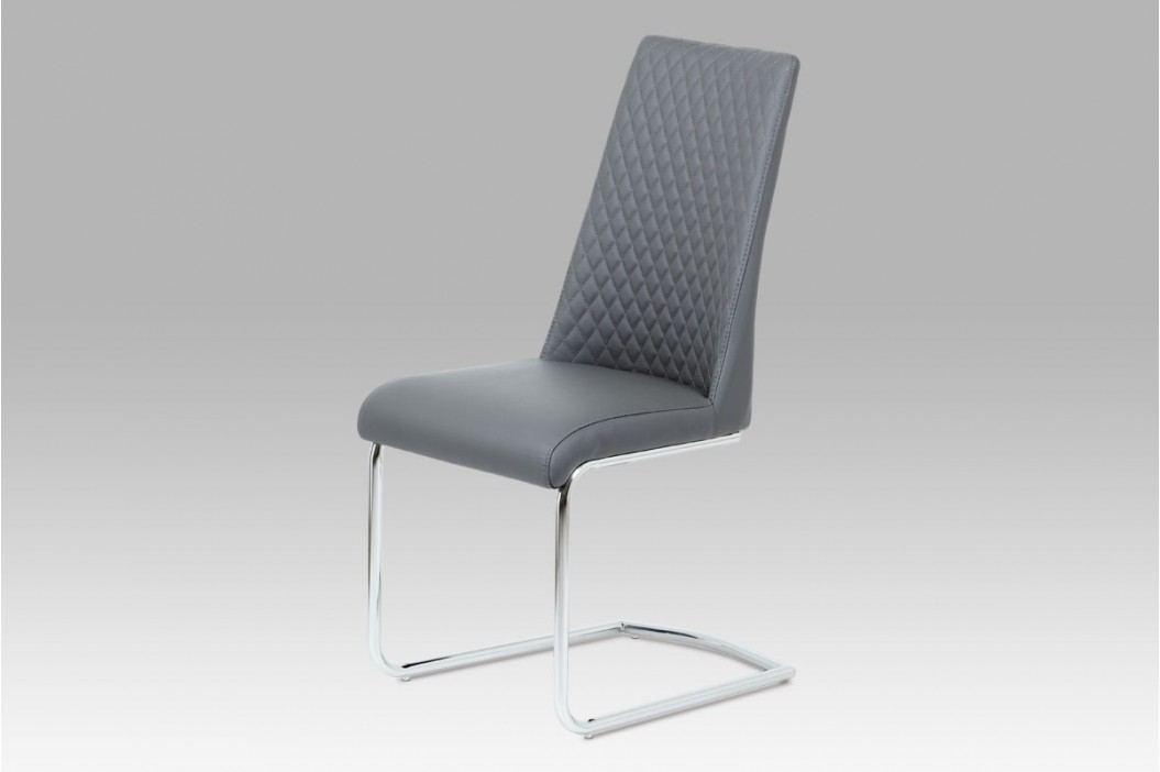 Jídelní židle chrom a šedá ekokůže HC-701 GREY