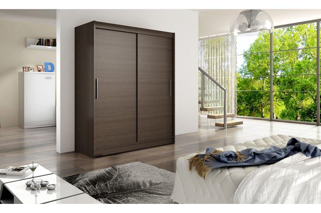 Skříň s posuvnými dveřmi v tmavě hnědé barvě F1113