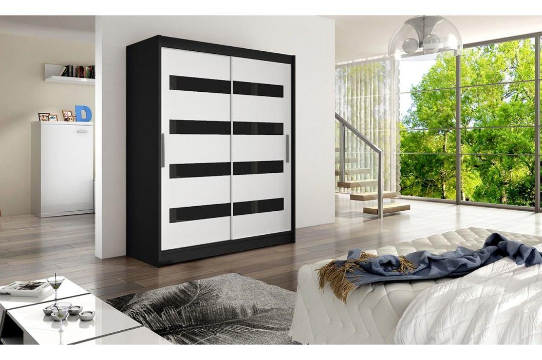 Skříň s posuvnými dveřmi v kombinaci bílé a černé barvy s černými pruhy F1113