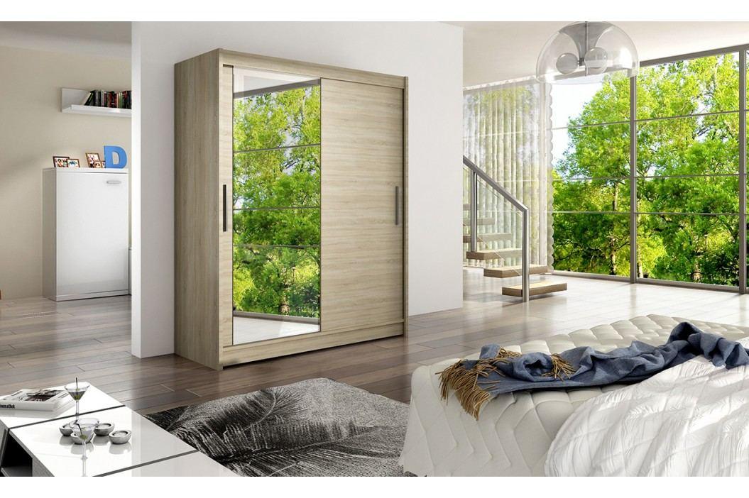 Skříň s posuvnými dveřmi v dekoru dub sonoma se zrcadlem F1113
