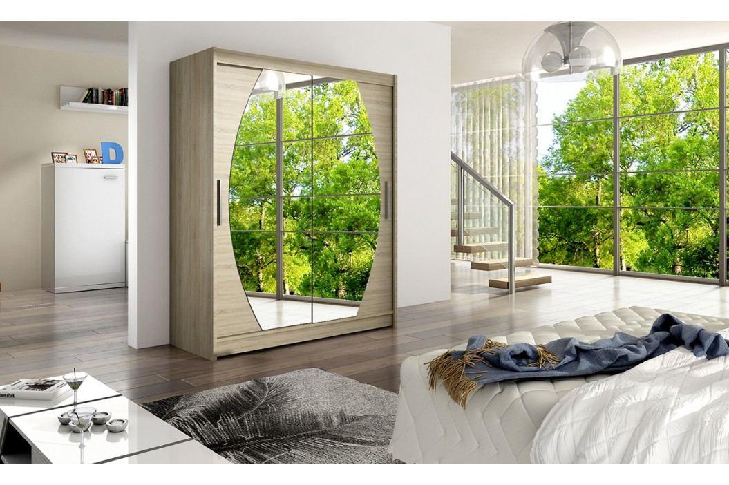 Skříň s posuvnými dveřmi v dekoru dub sonoma se zrcadly do oblouku F1113