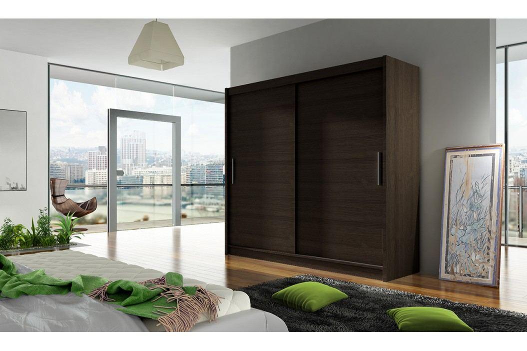 Skříň s posuvnými dveřmi v tmavě hnědé barvě F1104