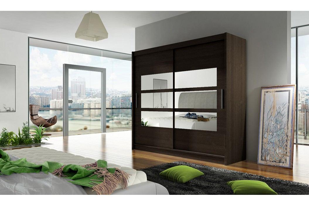 Skříň s posuvnými dveřmi v tmavě hnědé barvě s malými zrcadly F1104