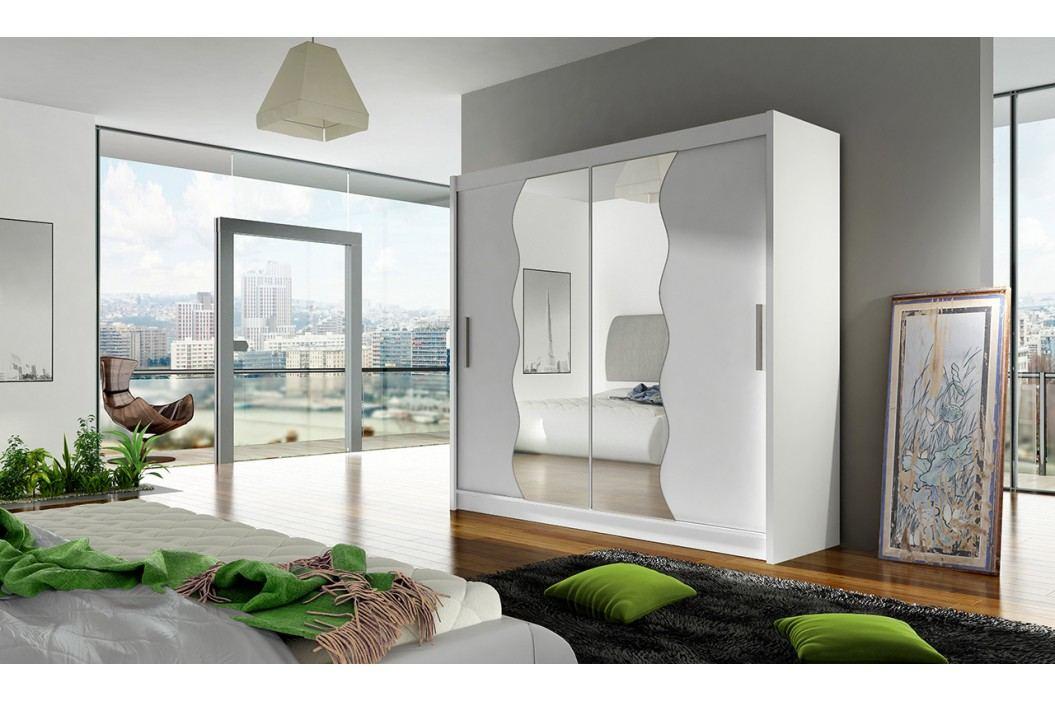 Skříň s posuvnými dveřmi v bílé barvě s vlnitými zrcadly F1104