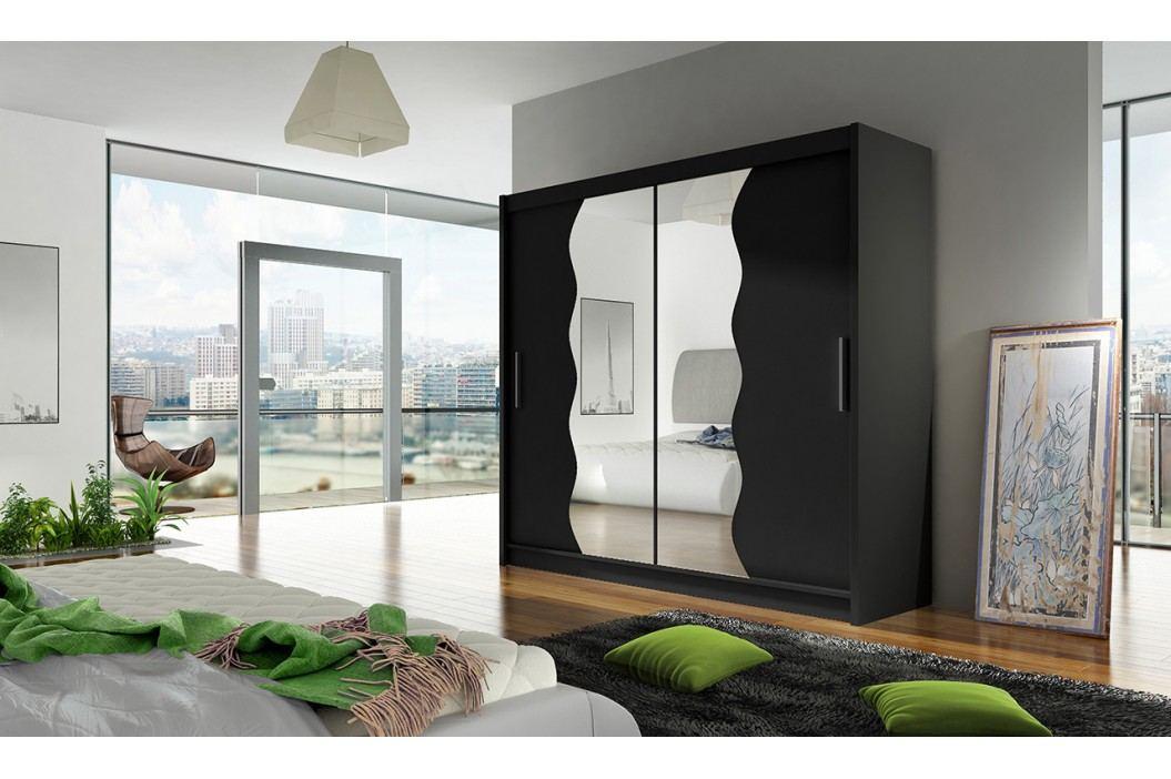 Skříň s posuvnými dveřmi v černé barvě s vlnitými zrcadly F1104