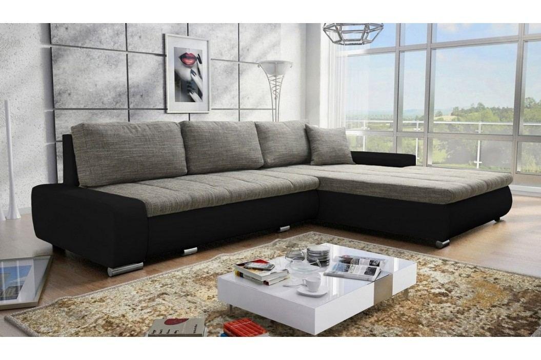 Rohová rozkládací sedačka v elegantní kombinaci barev černé a šedé s úložným prostorem KN459