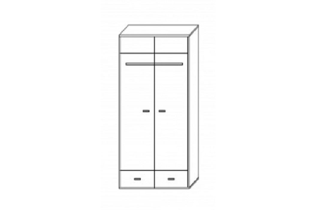 Šatní skříň 80 cm s dveřmi v bílé barvě a grafit s bílým korpusem typ R1 F2006
