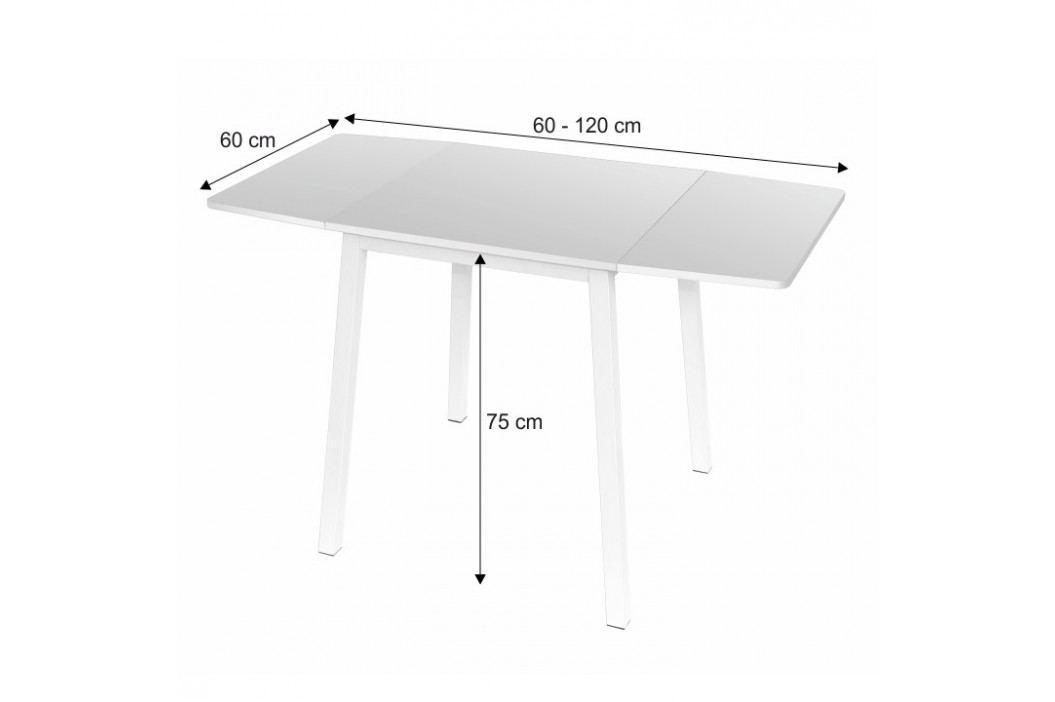 Rozkládací jídelní stůl s kovovou podstavou v čistě bílé barvě TK241