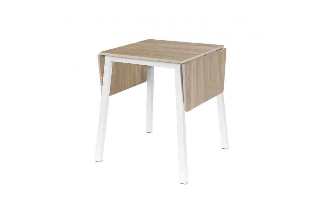 Rozkládací jídelní stůl s kovovou podstavou v bílé barvě s dekorem dub sonoma TK241