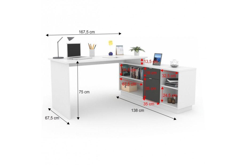 Kancelářský rohový stůl bílý s funkční skříňkou TK186